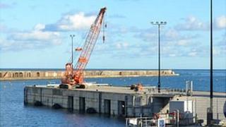 Temporary crane in Alderney's Braye Harbour