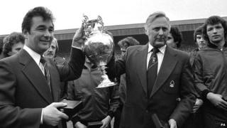Nigel Clough and Peter Taylor lifting the League Championship at the County Ground