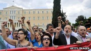 Protestors in Athens