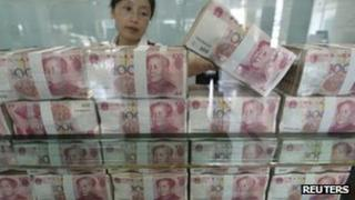 File photo: Money at a bank in China