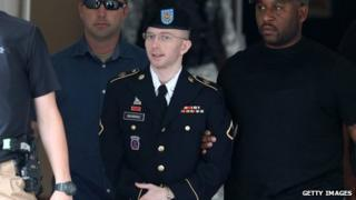 US Army Private First Class Bradley Manning is escorted by military police as he leaves his military trial after he was found guilty of 20 charges 20 July 2013