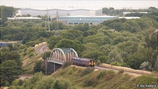 Train running on the Henbury Loop