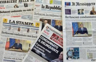 Front pages of Italian newspapers, 2 August