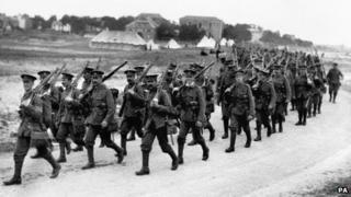 British infantrymen marching towards the front lines in the River Somme valley