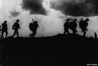 British troops moving up to the trenches near Ypres, 1917