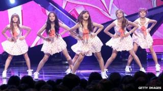 K-pop band APink performing in Seoul in August 2013