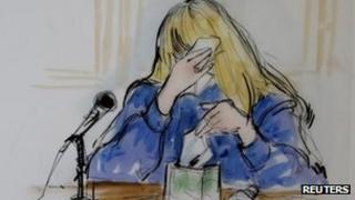 Courtroom sketch of Debbie Rowe