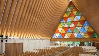 This handout picture taken on 7 August 2013 shows the interior of the Anglican Church of New Zealand made from cardboard, built in Christchurch to replace the historic Anglican cathedral destroyed in the 2011 earthquake