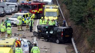 M25 crash at Addlestone in Surrey