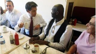 Labour leader Ed Miliband during a campaign visit in East Street market in Walworth, south London