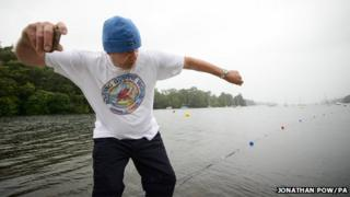 Current stone skimming world record holder Ron Long