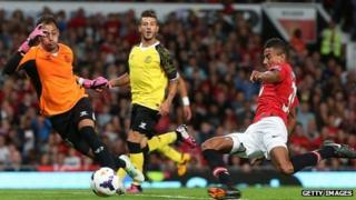 Jesse Lingard of Manchester United in action during the Rio Ferdinand Testimonial match between Manchester United and Sevilla FC at Old Trafford