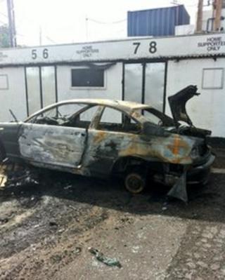 Burnt out car at Bath City stadium