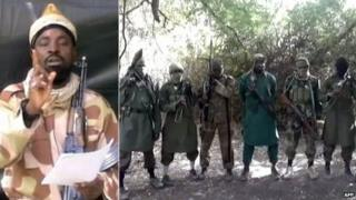Left: Boko Haram leader Abubakar Shekau Right: The Boko Haram leader lined up with other militants