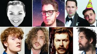 (Clockwise from the top left) Bridget Christie, Carl Donnelly, Max and Ivan, Nick Helm, Mike Wozniak, Seann Walsh and James Acaster