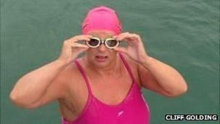 Wendy Trehiou about to start her double Channel swim - picture courtesy of Cliff Golding