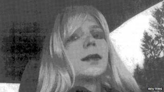 A photograph of Manning dressed as a woman (2010 file photo)