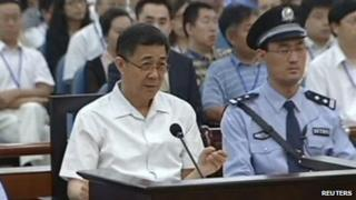 Bo Xilai (L), former Communist Party chief of the south-western city of Chongqing, speaks during his trial in Jinan, Shandong province, 23 August 2013, in this still image taken from China Central Television (CCTV).