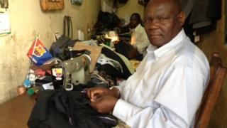 Osman Kabere, a tailor in Lilongwe, Malawi