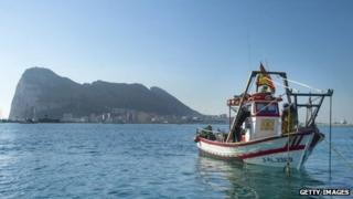 Rock of Gibraltar and Spanish fishing boat