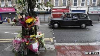 Makeshift memorial to nursery teacher Sabrina Moss