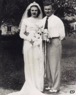 Harold and Ruth Knapke pose for a photo on their wedding day in St Henry, Ohio 20 August 1947