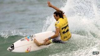Surfer Jordy Smith competing in the ASP world tour Billabong Rio Pro 2013 finals