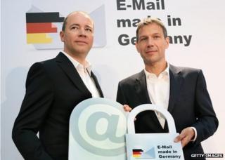 Ralph Dommermuth, left, of United Internetand Rene Obermann, of Deutsche Telekom, promoting German email providers in August 2013