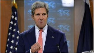 US Secretary of State John Kerry speaks at the state department in Washington DC, 27 August 2013