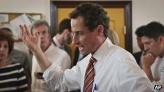 Anthony Weiner, New York mayoral candidate, speaks during a news conference, 25 July 2013