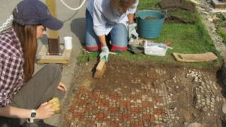 Mosaic uncovered at Chedworth Villa