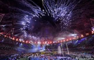 Fireworks from the Paralympics closing ceremony