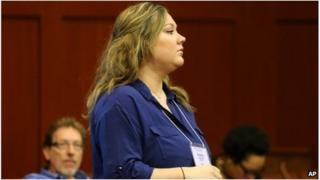 Shellie Zimmerman arrives at court in Sanford, Florida, to attend her husband's trial on 13 July 2013