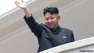 Kim Jong-un waves from a balcony