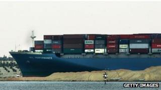 File pic container ship passes through Suez Canal at Ismailiya