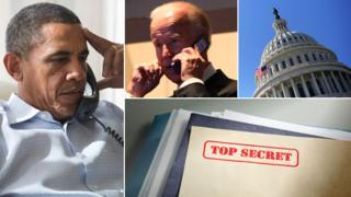 Barack Obama, Joe Biden, Capitol building and a confidential document