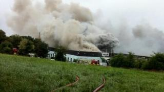 Factory on fire