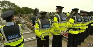Police lined the cemetery to prevent a repeat the Real IRA show of strength