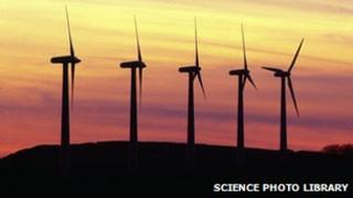 Five wind turbines
