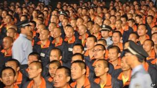 File photo of inmates at a labour camp in Bajing town in Jiangxi province, 27 September 2012.