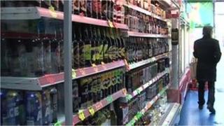 Alcohol on shop shelves