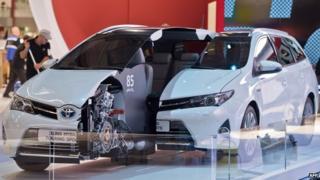 Toyota Auris hybrid on display at the Frankfurt Motor Show