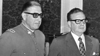 Gen Pinochet (left) and Salvador Allende (right)
