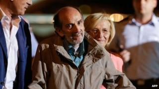 Italian journalist Domenico Quirico - kidnapped in Syria in early April - arrives at Ciampino military airport in Rome, Italy in the early hours of 9 September 2013
