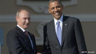 Vladimir Putin and Barack Obama at the G20 in St Petersburg on 5 September 2013