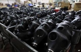 Gas mask factory in Israel