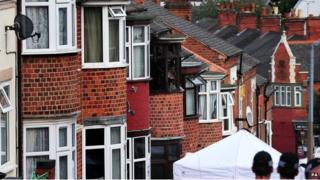 The scene of a house fire at Wood Hill, in the Spinney Hills area of Leicester which claimed the lives of four people
