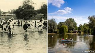 Wicksteed Park lake in the 1920s and today