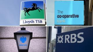 Bank logos: Lloyds; Co-op; RBS and Barclays
