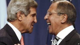 US Secretary of State John Kerry, left, and Russian Foreign Minister Sergei Lavrov shake hands after making statements during a news conference following meetings regarding Syria in Geneva, Switzerland, Saturday 14 September, 2013.